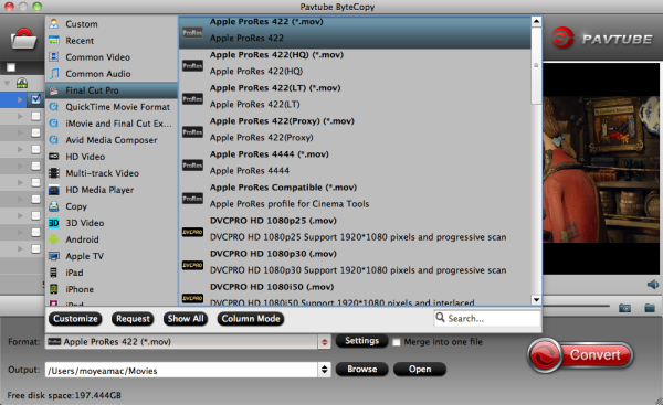 Output Apple Prores 422 HQ format