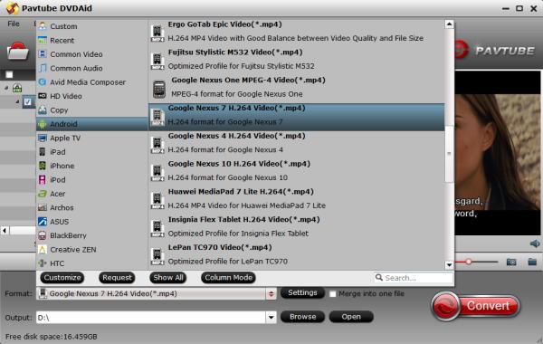 Nexus 8 video format