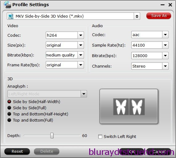 3D SBS mkv settings