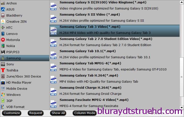 Galaxy Tab S Video Format