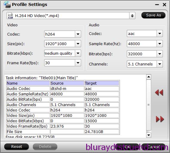 HD MP4 settings