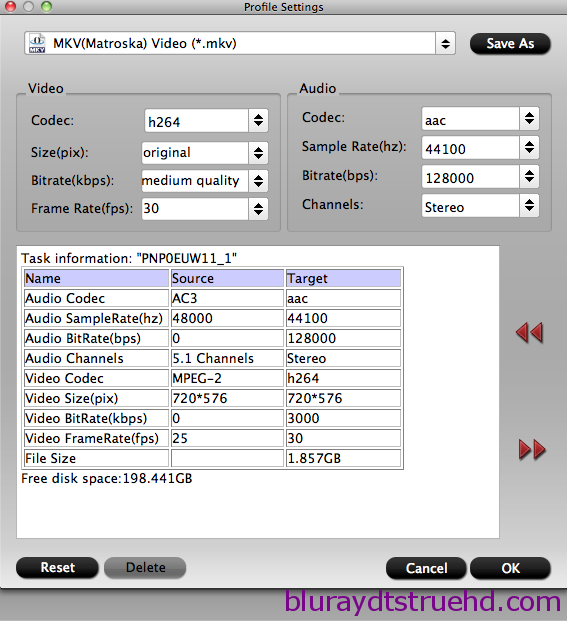 MKV video settings